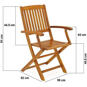 Deuba Sitzgruppe Boston 6+1 FSC®-zertifiziertes Akazienholz 7-TLG Tisch klappbar Sitzgarnitur Holz Gartenmöbel Garten Set - 4