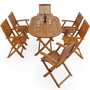 Deuba Sitzgruppe Boston 6+1 FSC®-zertifiziertes Akazienholz 7-TLG Tisch klappbar Sitzgarnitur Holz Gartenmöbel Garten Set - 7