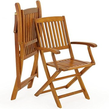Deuba Sitzgruppe Boston 6+1 FSC®-zertifiziertes Akazienholz 7-TLG Tisch klappbar Sitzgarnitur Holz Gartenmöbel Garten Set - 8