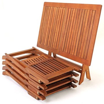 Deuba Sitzgruppe Sydney Light 4+1 FSC®-zertifiziertes Akazienholz 5-TLG Tisch klappbar Sitzgarnitur Holz Garten Set - 3