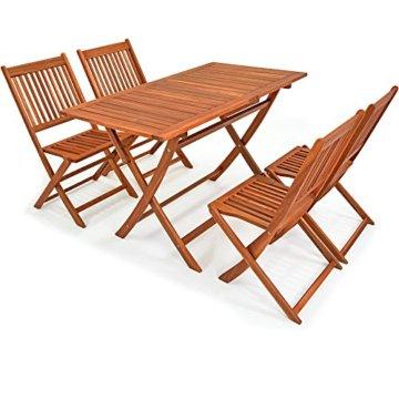 Deuba Sitzgruppe Sydney Light 4+1 FSC®-zertifiziertes Akazienholz 5-TLG Tisch klappbar Sitzgarnitur Holz Garten Set - 1