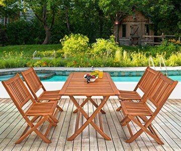 Deuba Sitzgruppe Sydney Light 4+1 FSC®-zertifiziertes Akazienholz 5-TLG Tisch klappbar Sitzgarnitur Holz Garten Set - 5