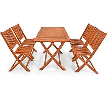Deuba Sitzgruppe Sydney Light 4+1 FSC®-zertifiziertes Akazienholz 5-TLG Tisch klappbar Sitzgarnitur Holz Garten Set - 6
