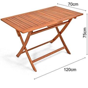 Deuba Sitzgruppe Sydney Light 4+1 FSC®-zertifiziertes Akazienholz 5-TLG Tisch klappbar Sitzgarnitur Holz Garten Set - 7