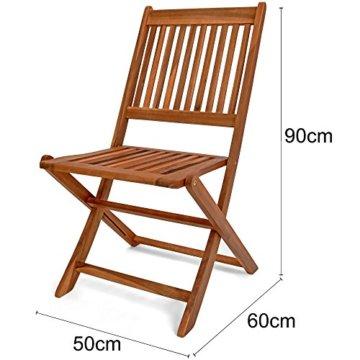 Deuba Sitzgruppe Sydney Light 4+1 FSC®-zertifiziertes Akazienholz 5-TLG Tisch klappbar Sitzgarnitur Holz Garten Set - 8