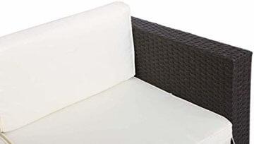 GOJOOASIS Polyrattan Lounge Sitzgruppe Gartenmöbel Garnitur Poly Rattan Couch-Set in Braun-schwarz mit Bezügen in Creme (200 cm Länge) - 3