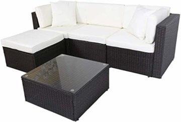 GOJOOASIS Polyrattan Lounge Sitzgruppe Gartenmöbel Garnitur Poly Rattan Couch-Set in Braun-schwarz mit Bezügen in Creme (200 cm Länge) - 4