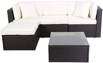 GOJOOASIS Polyrattan Lounge Sitzgruppe Gartenmöbel Garnitur Poly Rattan Couch-Set in Braun-schwarz mit Bezügen in Creme (200 cm Länge) - 1