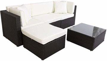 GOJOOASIS Polyrattan Lounge Sitzgruppe Gartenmöbel Garnitur Poly Rattan Couch-Set in Braun-schwarz mit Bezügen in Creme (200 cm Länge) - 5