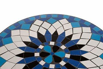 Hochwertiges aufwendig gearbeitetes Mosaik Tisch Set, 002a+B stabiles Gartenmöbel Set, Balkonset, Bistroset, Schweres beschichtetes Metall, Wetterfest, Tisch und 2 Stühle (Blau-Weiß 002A+B) - 2