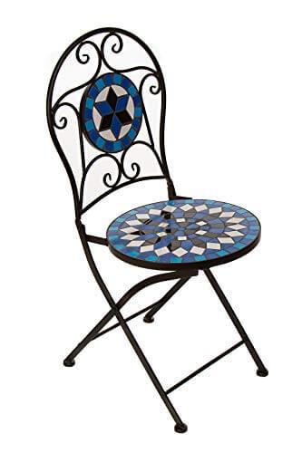 Hochwertiges aufwendig gearbeitetes Mosaik Tisch Set, 002a+B stabiles Gartenmöbel Set, Balkonset, Bistroset, Schweres beschichtetes Metall, Wetterfest, Tisch und 2 Stühle (Blau-Weiß 002A+B) - 3