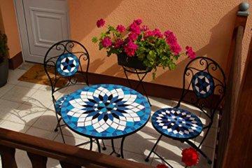 Hochwertiges aufwendig gearbeitetes Mosaik Tisch Set, 002a+B stabiles Gartenmöbel Set, Balkonset, Bistroset, Schweres beschichtetes Metall, Wetterfest, Tisch und 2 Stühle (Blau-Weiß 002A+B) - 4