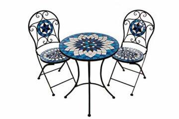 Hochwertiges aufwendig gearbeitetes Mosaik Tisch Set, 002a+B stabiles Gartenmöbel Set, Balkonset, Bistroset, Schweres beschichtetes Metall, Wetterfest, Tisch und 2 Stühle (Blau-Weiß 002A+B) - 1