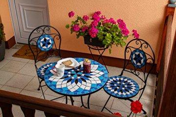 Hochwertiges aufwendig gearbeitetes Mosaik Tisch Set, 002a+B stabiles Gartenmöbel Set, Balkonset, Bistroset, Schweres beschichtetes Metall, Wetterfest, Tisch und 2 Stühle (Blau-Weiß 002A+B) - 5