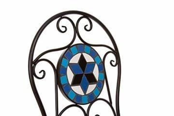 Hochwertiges aufwendig gearbeitetes Mosaik Tisch Set, 002a+B stabiles Gartenmöbel Set, Balkonset, Bistroset, Schweres beschichtetes Metall, Wetterfest, Tisch und 2 Stühle (Blau-Weiß 002A+B) - 6