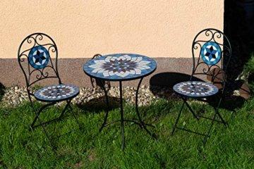 Hochwertiges aufwendig gearbeitetes Mosaik Tisch Set, 002a+B stabiles Gartenmöbel Set, Balkonset, Bistroset, Schweres beschichtetes Metall, Wetterfest, Tisch und 2 Stühle (Blau-Weiß 002A+B) - 7
