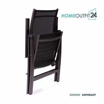 Homeoutfit24 Sun Garden Premium Line 4er Set Gartenstuhl - Hochlehner London in Anthrazit, Klappsessel aus Aluminium - 3