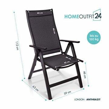 Homeoutfit24 Sun Garden Premium Line 4er Set Gartenstuhl - Hochlehner London in Anthrazit, Klappsessel aus Aluminium - 4