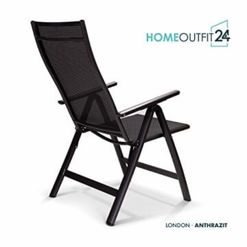 Homeoutfit24 Sun Garden Premium Line 4er Set Gartenstuhl - Hochlehner London in Anthrazit, Klappsessel aus Aluminium - 5