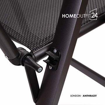 Homeoutfit24 Sun Garden Premium Line 4er Set Gartenstuhl - Hochlehner London in Anthrazit, Klappsessel aus Aluminium - 6