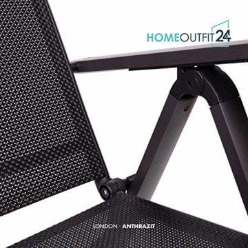 Homeoutfit24 Sun Garden Premium Line 4er Set Gartenstuhl - Hochlehner London in Anthrazit, Klappsessel aus Aluminium - 7