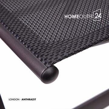 Homeoutfit24 Sun Garden Premium Line 4er Set Gartenstuhl - Hochlehner London in Anthrazit, Klappsessel aus Aluminium - 9