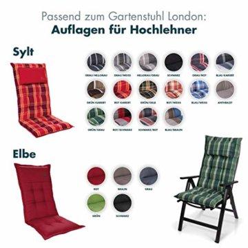 Homeoutfit24 Sun Garden Premium Line 4er Set Gartenstuhl - Hochlehner London in Silber, Klappsessel aus Aluminium - 4