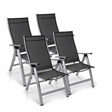 Homeoutfit24 Sun Garden Premium Line 4er Set Gartenstuhl - Hochlehner London in Silber, Klappsessel aus Aluminium - 1