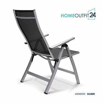 Homeoutfit24 Sun Garden Premium Line 4er Set Gartenstuhl - Hochlehner London in Silber, Klappsessel aus Aluminium - 6