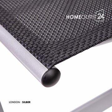 Homeoutfit24 Sun Garden Premium Line 4er Set Gartenstuhl - Hochlehner London in Silber, Klappsessel aus Aluminium - 7