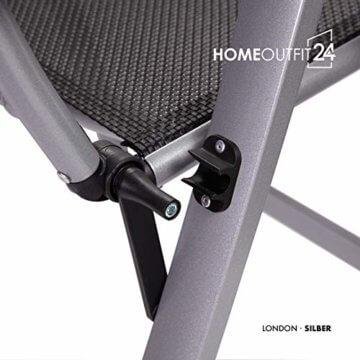 Homeoutfit24 Sun Garden Premium Line 4er Set Gartenstuhl - Hochlehner London in Silber, Klappsessel aus Aluminium - 8