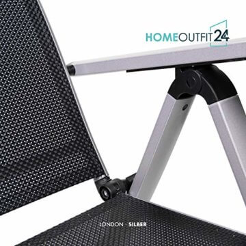 Homeoutfit24 Sun Garden Premium Line 4er Set Gartenstuhl - Hochlehner London in Silber, Klappsessel aus Aluminium - 9