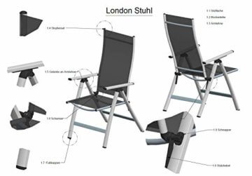 Homeoutfit24 Sun Garden Premium Line 4er Set Gartenstuhl - Hochlehner London in Silber, Klappsessel aus Aluminium - 10