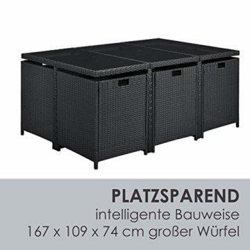 Juskys Polyrattan Sitzgruppe Baracoa XL 11-teilig wetterfest & stapelbar – Gartenmöbel Set mit 6 Stühle, 4 Hocker & Tisch für Garten & Terrasse - 2