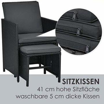Juskys Polyrattan Sitzgruppe Baracoa XL 11-teilig wetterfest & stapelbar – Gartenmöbel Set mit 6 Stühle, 4 Hocker & Tisch für Garten & Terrasse - 3