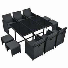 Juskys Polyrattan Sitzgruppe Baracoa XL 11-teilig wetterfest & stapelbar – Gartenmöbel Set mit 6 Stühle, 4 Hocker & Tisch für Garten & Terrasse - 1