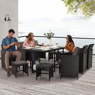 Juskys Polyrattan Sitzgruppe Baracoa XL 11-teilig wetterfest & stapelbar – Gartenmöbel Set mit 6 Stühle, 4 Hocker & Tisch für Garten & Terrasse - 4