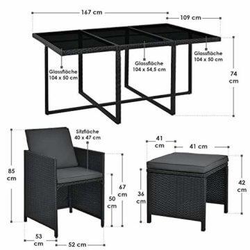 Juskys Polyrattan Sitzgruppe Baracoa XL 11-teilig wetterfest & stapelbar – Gartenmöbel Set mit 6 Stühle, 4 Hocker & Tisch für Garten & Terrasse - 5