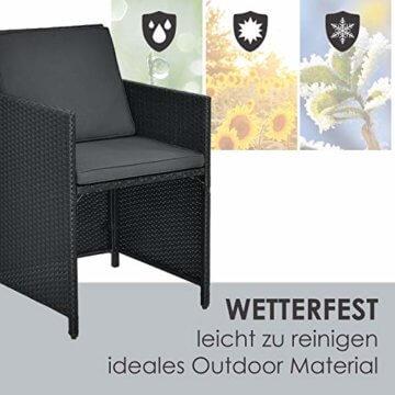 Juskys Polyrattan Sitzgruppe Baracoa XL 11-teilig wetterfest & stapelbar – Gartenmöbel Set mit 6 Stühle, 4 Hocker & Tisch für Garten & Terrasse - 7