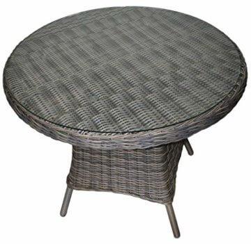 KMH®, 5-teilige Gartensitzgruppe - 1 runder Tisch und 4 Gartensessel inkl. Sitzkissen (#106101) - 4