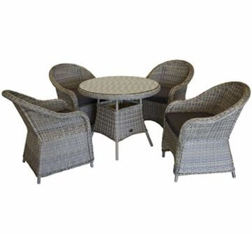 KMH®, 5-teilige Gartensitzgruppe - 1 runder Tisch und 4 Gartensessel inkl. Sitzkissen (#106101) - 1