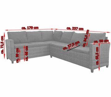 KMH®, große Schwarze Polyrattan Gartensitzgruppe Lounge Esstisch Sofa Hannover inklusive Auflagen und Kissen (#106116) - 2
