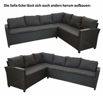 KMH®, große Schwarze Polyrattan Gartensitzgruppe Lounge Esstisch Sofa Hannover inklusive Auflagen und Kissen (#106116) - 4
