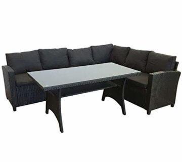 KMH®, große Schwarze Polyrattan Gartensitzgruppe Lounge Esstisch Sofa Hannover inklusive Auflagen und Kissen (#106116) - 1