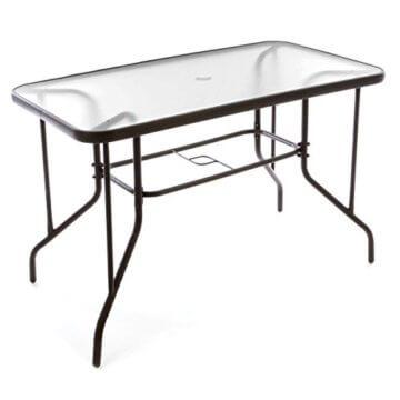 Nexos 5-teiliges Gartenmöbel-Set – Gartengarnitur Sitzgruppe Sitzgarnitur aus Bistrostühlen & Esstisch – Stahl Kunststoff Glas – braun Dunkelbraun - 4