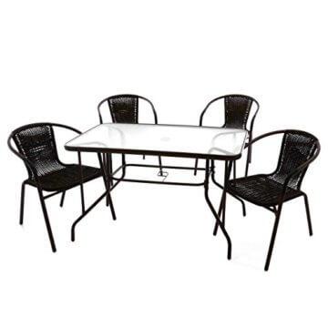 Nexos 5-teiliges Gartenmöbel-Set – Gartengarnitur Sitzgruppe Sitzgarnitur aus Bistrostühlen & Esstisch – Stahl Kunststoff Glas – braun Dunkelbraun - 1