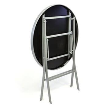 Nexos Bistroset Balkonset – Gartengarnitur Sitzgarnitur aus Glastisch & Stapelstuhl – Stahlgestell Kunststoff Glasplatte – robust stapelbar – schwarz grau - 2