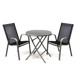 Nexos Bistroset Balkonset – Gartengarnitur Sitzgarnitur aus Glastisch & Stapelstuhl – Stahlgestell Kunststoff Glasplatte – robust stapelbar – schwarz grau - 1