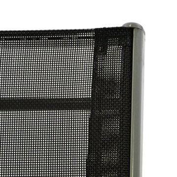 Nexos Bistroset Balkonset – Gartengarnitur Sitzgarnitur aus Glastisch & Stapelstuhl – Stahlgestell Kunststoff Glasplatte – robust stapelbar – schwarz grau - 4