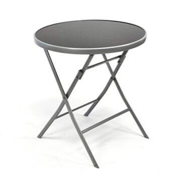 Nexos Bistroset Balkonset – Gartengarnitur Sitzgarnitur aus Glastisch & Stapelstuhl – Stahlgestell Kunststoff Glasplatte – robust stapelbar – schwarz grau - 5